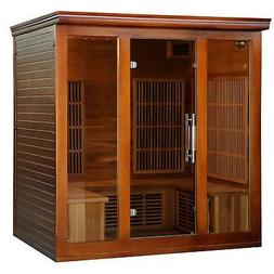 4-5 Person Cedar Infrared Sauna with 9 Carbon Heaters Brown