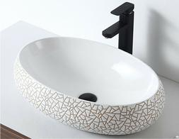 Bathroom Vessel Sink Ceramic Art Basin Oval shape without Po