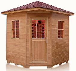 Deluxe Four 4 Person FIR Far Infrared Outdoor Sauna Spa w/ S