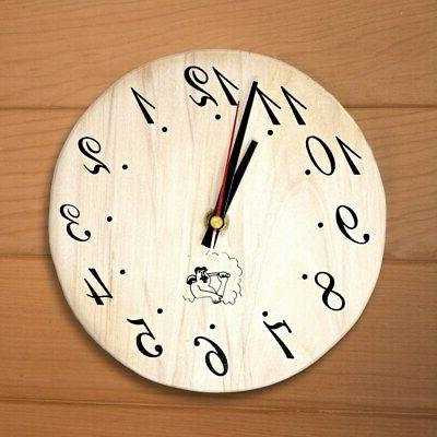 handcrafted analog clock for sauna in finnish