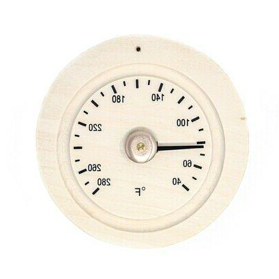 round pine wood sauna thermometer gage in