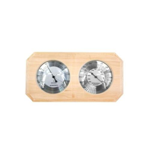 wall mounted pine wood thermometer and hygrometer