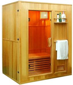 "New 60"" 2/3 Person Canadian Hemlock Wet Dry Steam SPA Sauna"