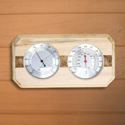 Aleko Wall Mounted Pine Wood Thermometer and Hygrometer